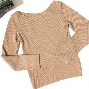 Babaton Kitano Tan Ribbed Crossback Sweater XXS